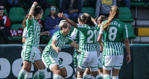Las verdiblancas celebran uno de los goles marcados al Athletic Club (2-2).