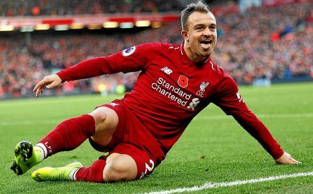 Shaqiri celebra un gol con el Liverpool la temporada pasada.