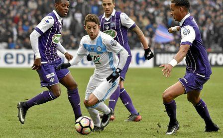 Maxime López, en un partido con el Olympique de Marsella.