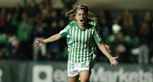 La lateral del Betis celebra su tanto ante el Sporting de Huelva en la jornada 13 (1-1).