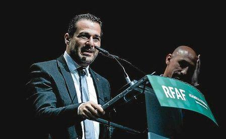 Pablo Lozano, presidente de la RFAF, durante su intervención en la última Asamblea General.