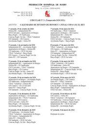 Calendario de la División de Honor masculina de rugby.