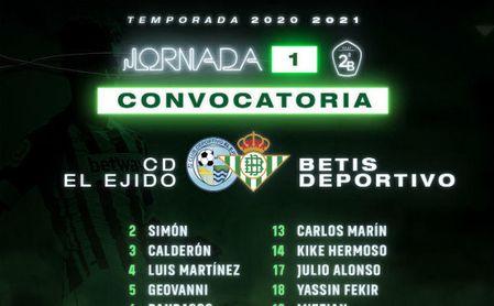 El Betis Deportivo ofreció su convocatoria para el primer partido liguero.