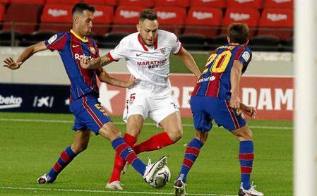 Ocampos, durante el partido contra el Barcelona.