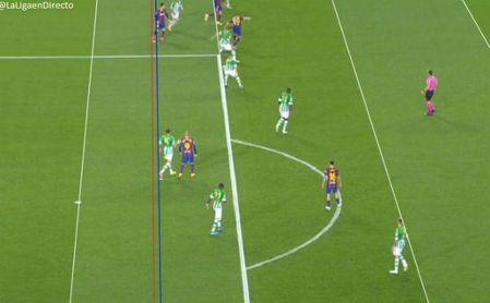 Polémica por las líneas del VAR en el segundo gol de Messi