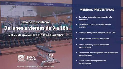 El gimnasio de la UPO continúa abierto de 9 a 18 horas.