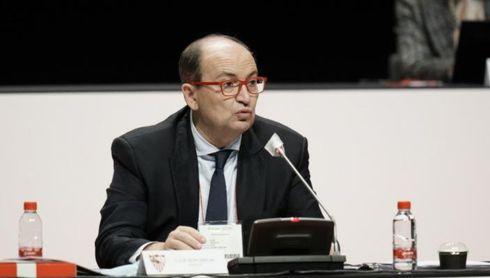 El presidente del Sevilla F.C., José Castro, en la Junta de Accionistas del club 2020.
