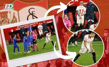 na fotografía, dos detalles de un Sevilla FC campeón.
