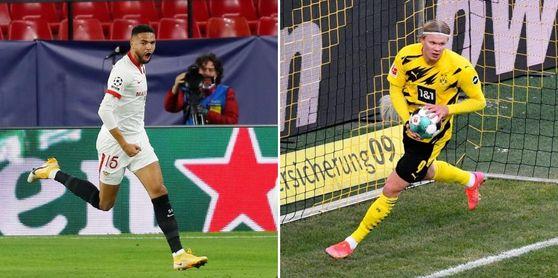 En-Nesyri y Haaland están llamados a poner el gol en este Sevilla-Dortmund de octavos de Champions.