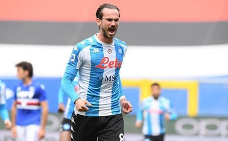 Fabián celebra su gol contra la Sampdoria.