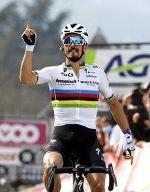 Alaphilippe ilumina el arcoiris en el Muro de Huy, Valverde tercero