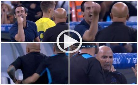 (Vídeo) El Marsella-Villarreal se calienta, Emery y Sampaoli se encaran y tienen que separarles