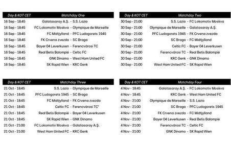 Día y horarios de los partidos del Real Betis en UEFA Europa League