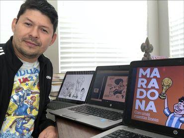 """""""Maradona, con unas cuantas líneas"""": 120 caricaturas del mejor """"10"""""""