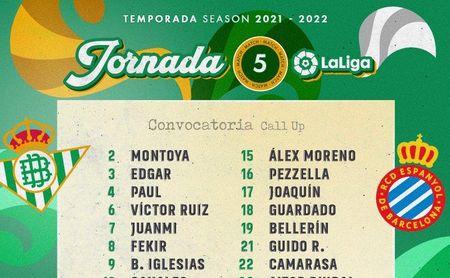 Juan Miranda, la gran ausencia en la convocatoria para el Real Betis - Espanyol